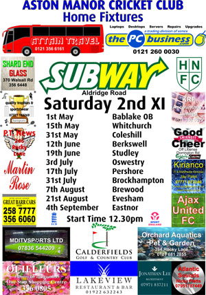 Saturday 2nd Team Sponsorship Board